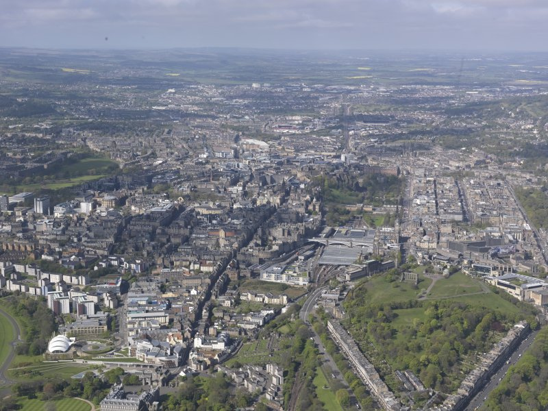General oblique aerial view of Calton Hill, Royal Mile, Old Town and New Town, looking W.