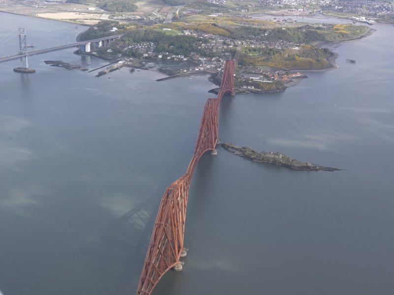 Oblique aerial view of Forth Rail Bridge, Inch Garvie, North Queensferry, looking NW.