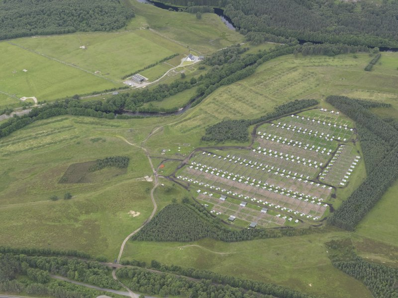 Oblique aerial view of the pig farm at the Invernahavon battle site, looking WNW.