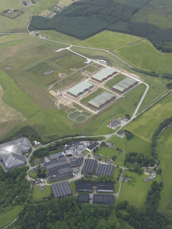Oblique aerial view of the Macallan Distillery, looking NNW.