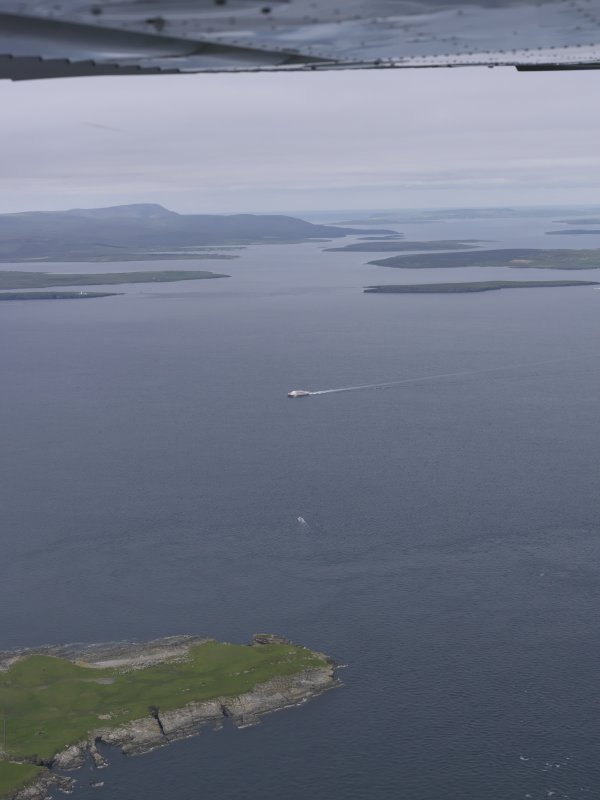General oblique aerial view of The North Head, Swona with a view of the Cantick Sound, looking NW.