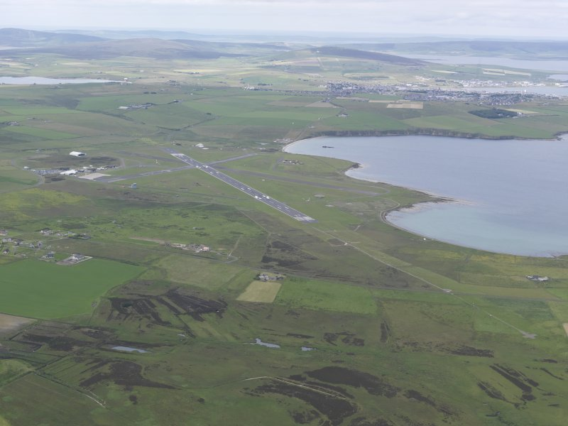 General oblique aerial view of Kirkwall Airport and Inganess Bay,  looking NW.