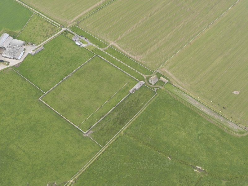 Oblique aerial view of Hall of Clestrain, Clestrain, looking SW.