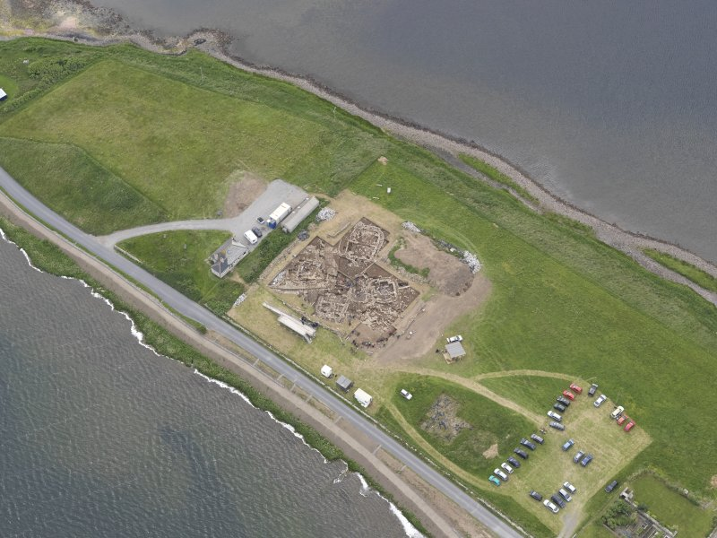 Oblique aerial view of the excavations at Ness of Brodgar, looking N.