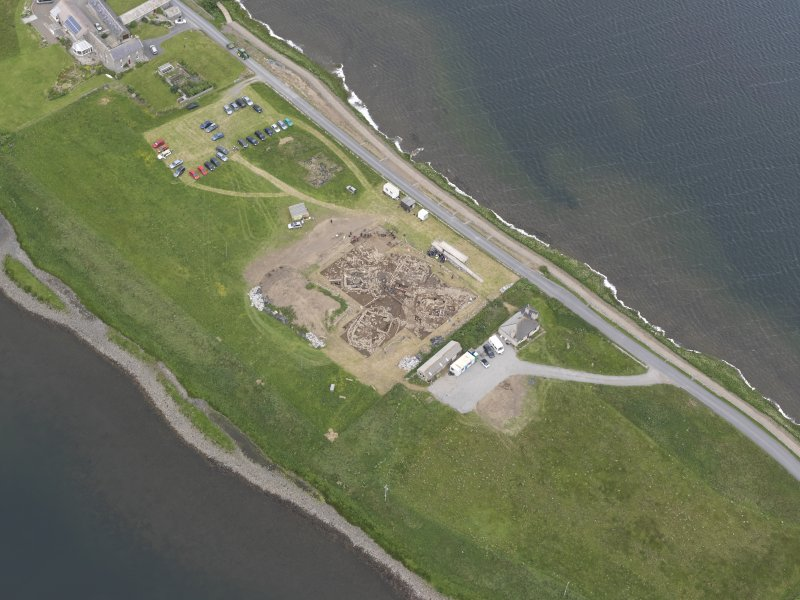 Oblique aerial view of the excavations at Ness of Brodgar, looking S.