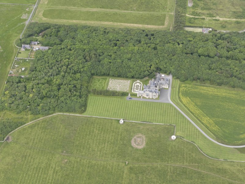 Oblique aerial view centred on Balfour House, looking NNW.