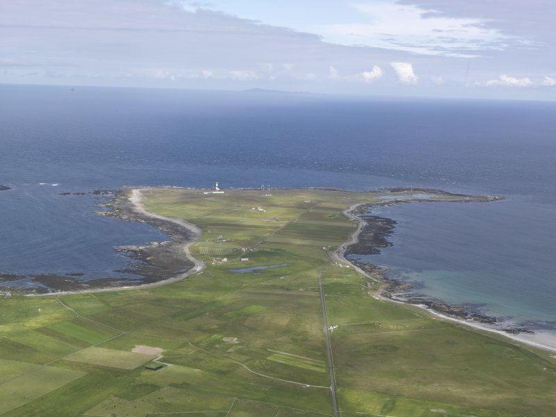 General oblique aerial view of Dennis Head, North Ronaldsay, looking E.