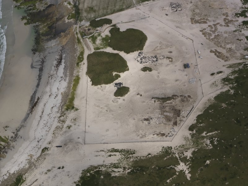Oblique aerial view of the Links of Noltland excavation area, looking E.
