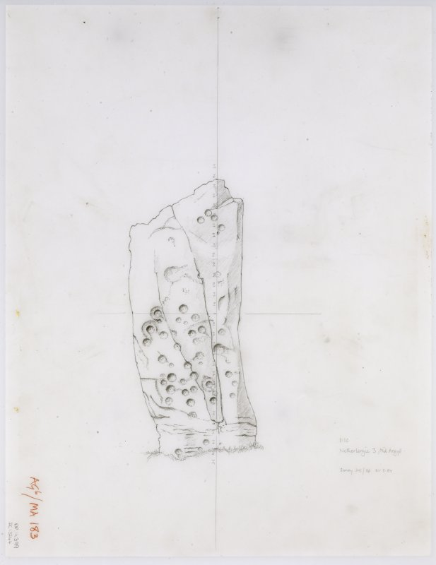 Survey drawing; Nether Largie standing stones, stone F, SW face.