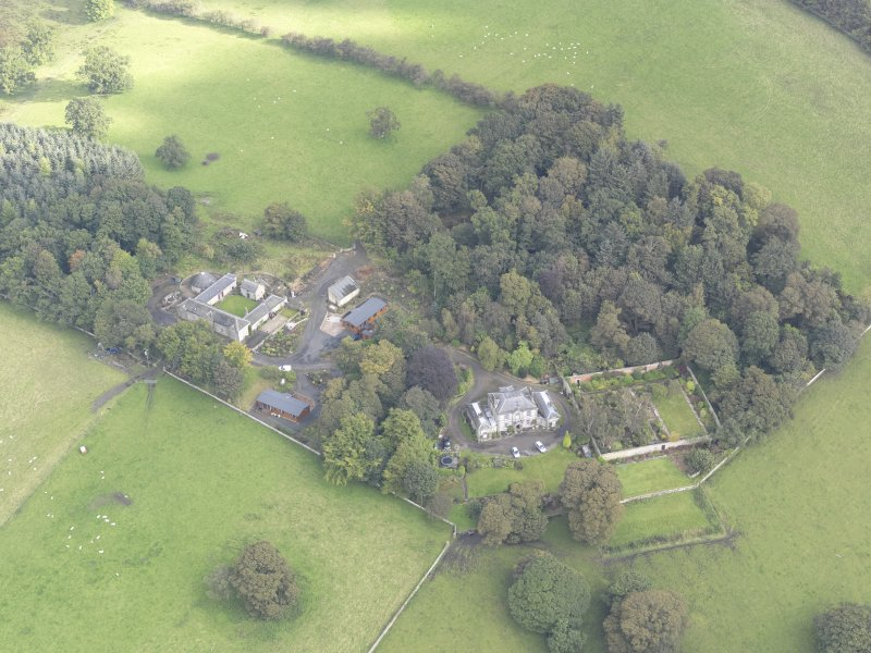 General oblique aerial view of Benarty House with adjacent walled garden and steading, looking to the NNE.
