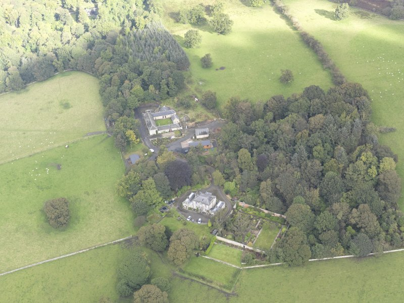 General oblique aerial view of Benarty House with adjacent walled garden and steading, looking to the N.