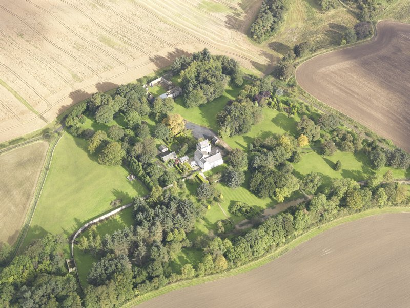 General oblique aerial view of Balmuto Tower estate, looking to the NNE.