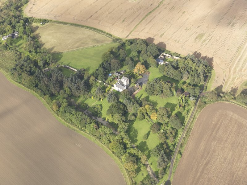 General oblique aerial view of Balmuto Tower estate, looking to the NW.