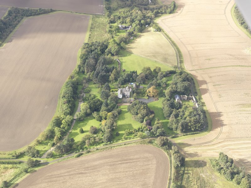General oblique aerial view of Balmuto Tower estate, looking to the W.
