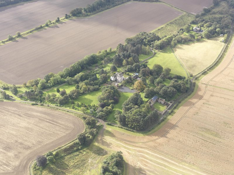 General oblique aerial view of Balmuto Tower estate, looking to the SW.
