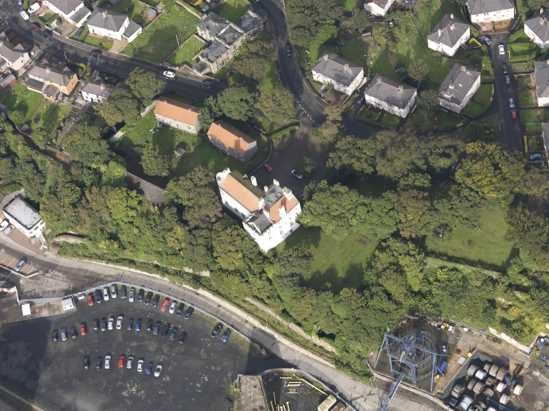 Oblique aerial view of Rossend Castle, looking to the NNW.