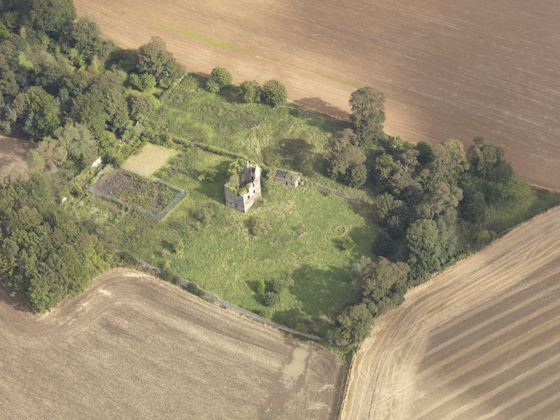 Oblique aerial view of Piteadie Castle, looking to the NE.