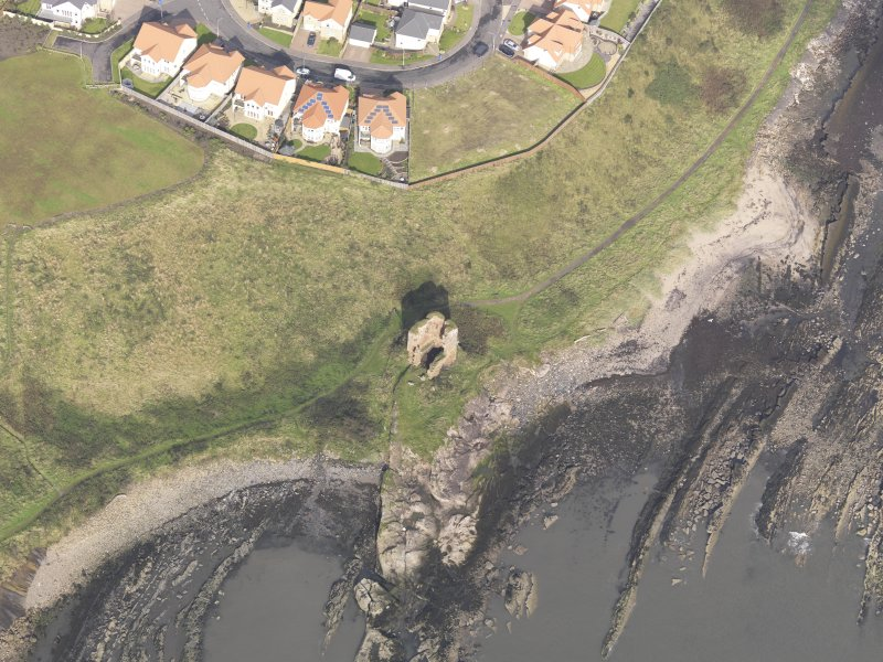 Oblique aerial view of Seafield Tower, looking to the NW.