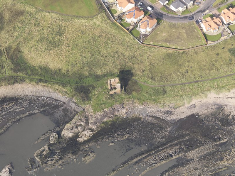 Oblique aerial view of Seafield Tower, looking to the W.