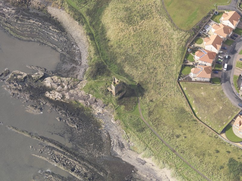 Oblique aerial view of Seafield Tower, looking to the SW.