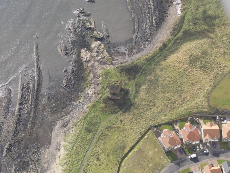 Oblique aerial view of Seafield Tower, looking to the S.