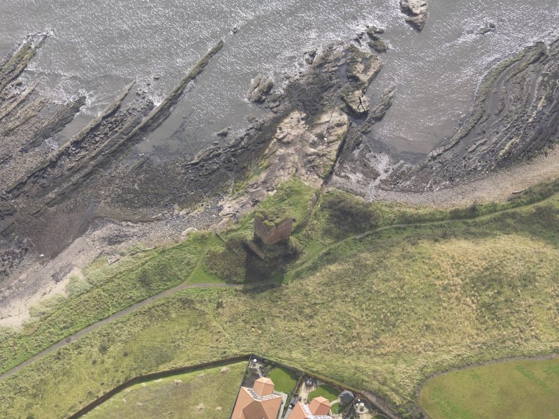 Oblique aerial view of Seafield Tower, looking to the NE.