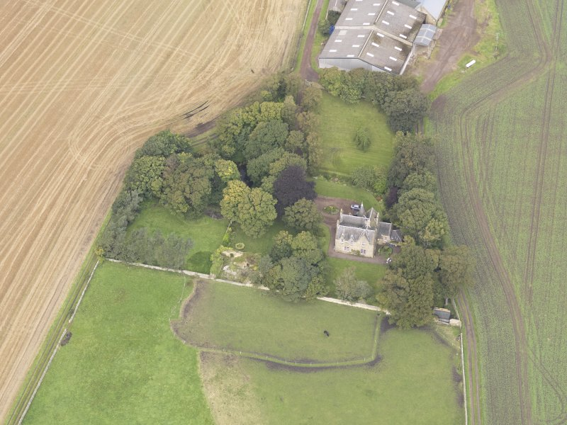 Oblique aerial view of Elphinstone Tower, looking to the NW.