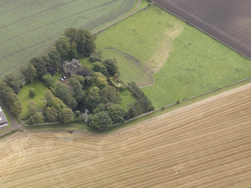 Oblique aerial view of Elphinstone Tower, looking to the ESE.