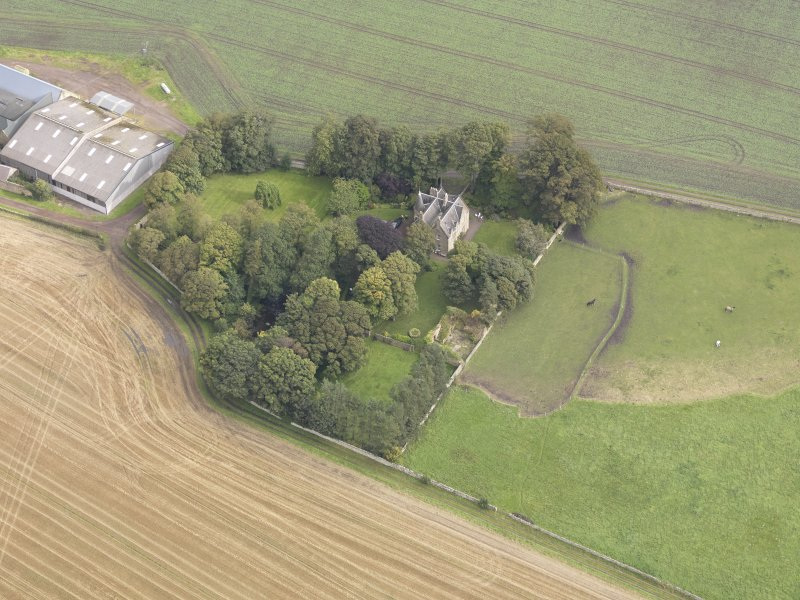 Oblique aerial view of Elphinstone Tower, looking to the NE.