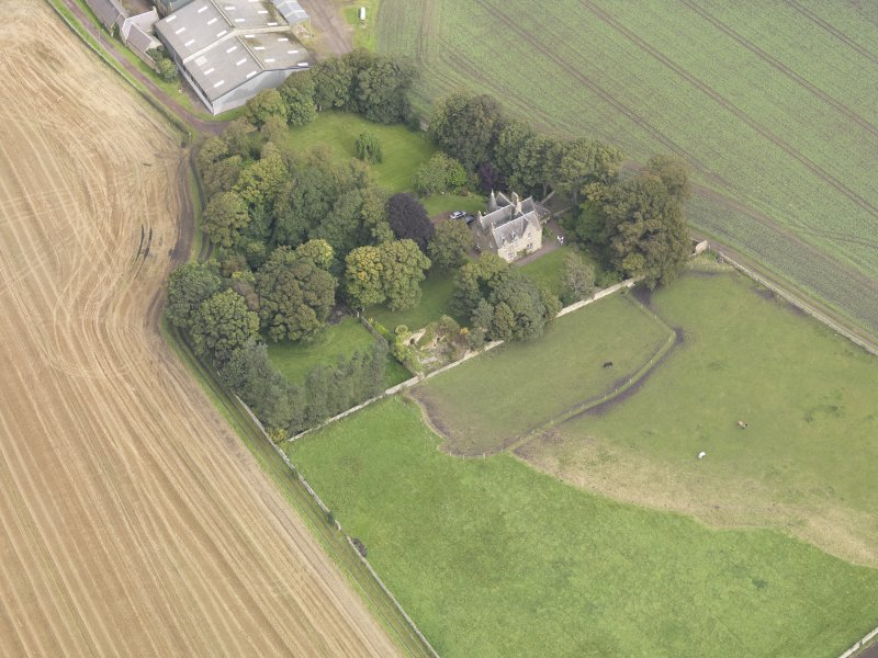 Oblique aerial view of Elphinstone Tower, looking to the N.