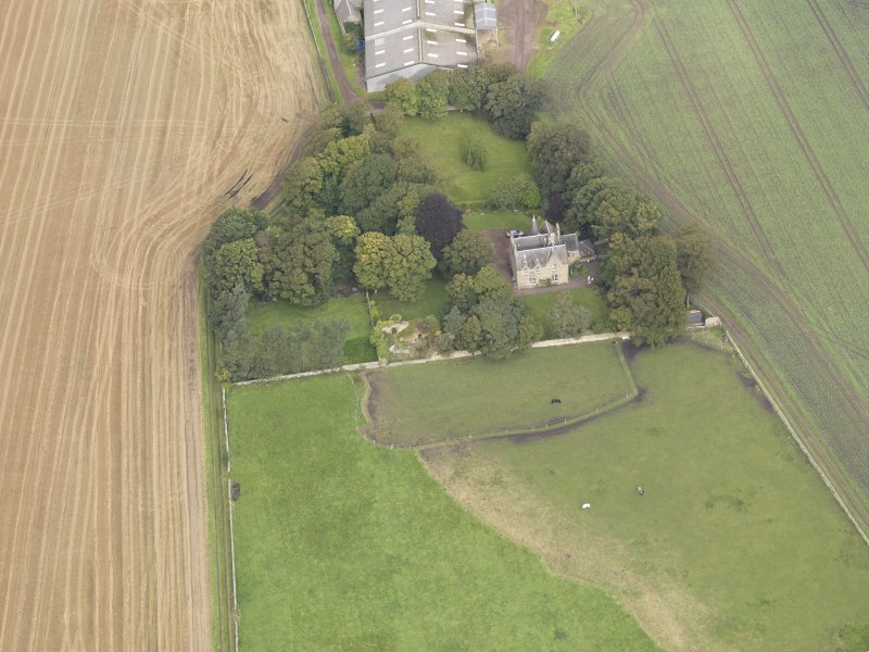 Oblique aerial view of Elphinstone Tower, looking to the NNW.