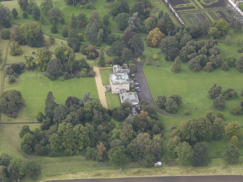 Oblique aerial view of Preston Hall, looking to the WNW.