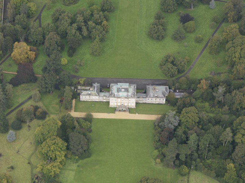 Oblique aerial view of Preston Hall, looking to the N.