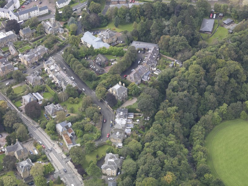 Oblique aerial view of Eskbank House, looking to the WSW.