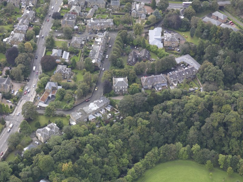 Oblique aerial view of Eskbank House, looking to the SW.