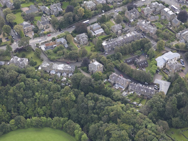Oblique aerial view of Eskbank House, looking to the S.