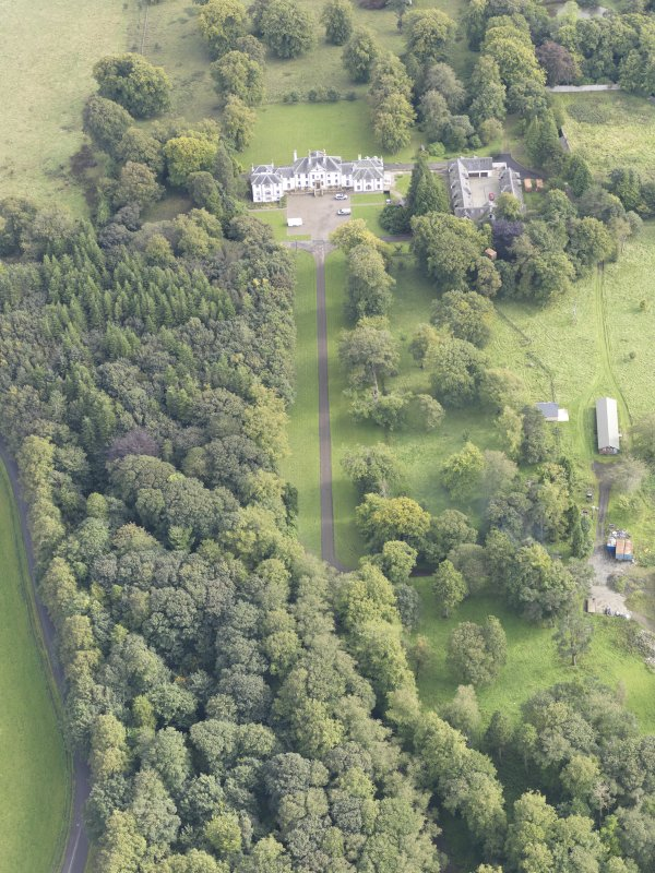 General oblique aerial view of Middleton Hall with adjacent stables, looking to the E.