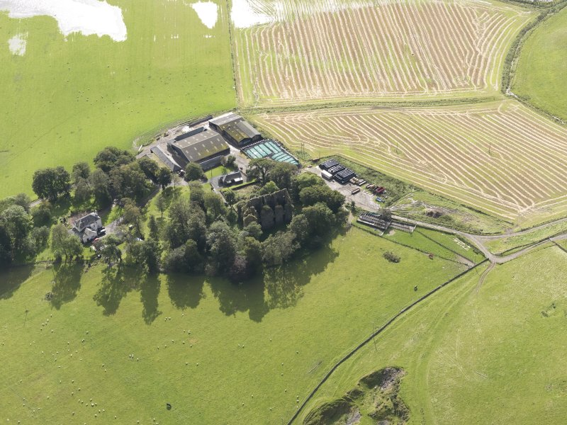 Oblique aerial view of Drochil Castle, looking to the S.