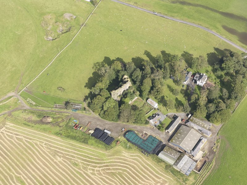 Oblique aerial view of Drochil Castle, looking to the N.