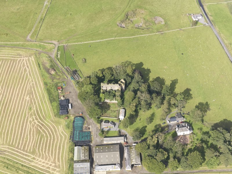 Oblique aerial view of Drochil Castle, looking to the NNE.