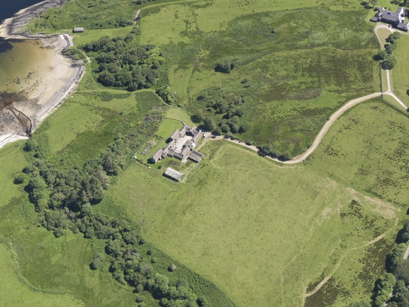 Oblique aerial view of Cour House, looking SE.
