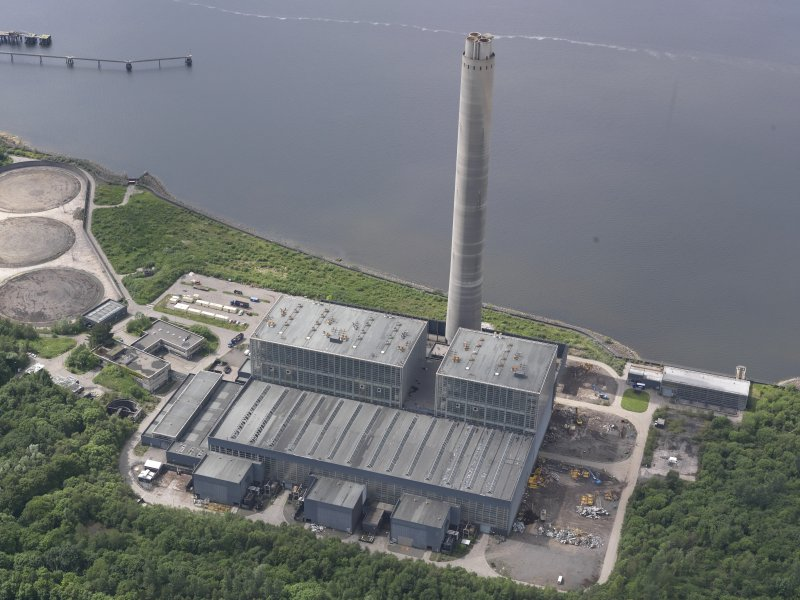 Oblique aerial view of Inverkip Power Station, looking W.