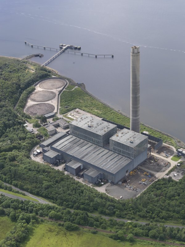 Oblique aerial view of Inverkip Power Station, looking SW.