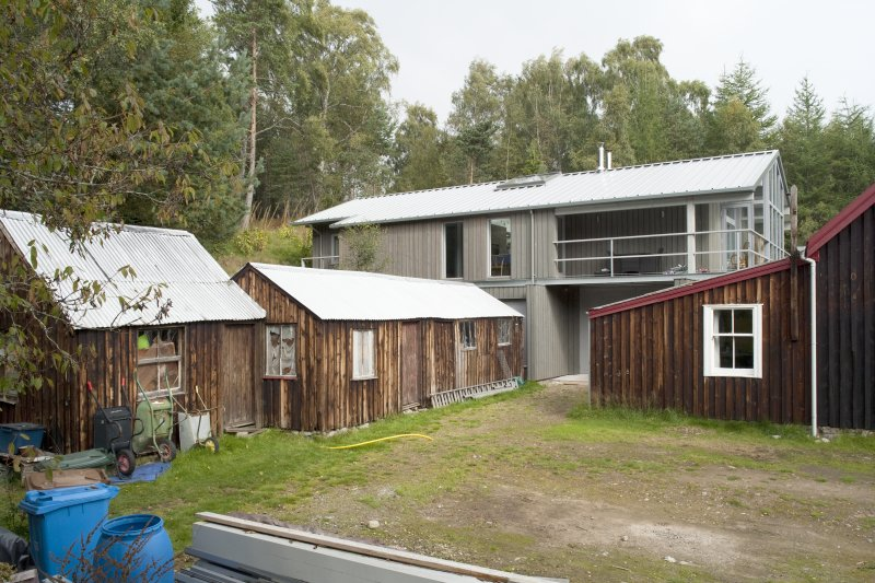 Workshops and new house, view from west