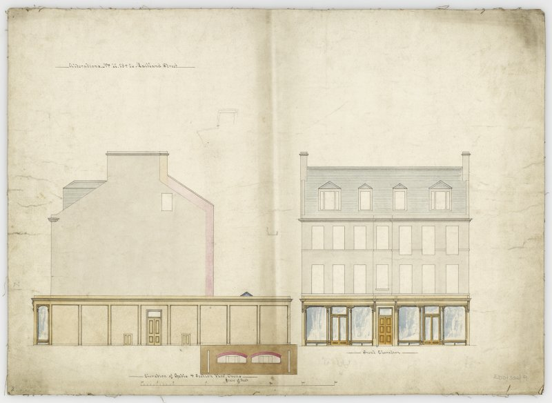 Elevations and section through ovens. Title: Alterations.  22, 23, 24 West Maitland Street.
