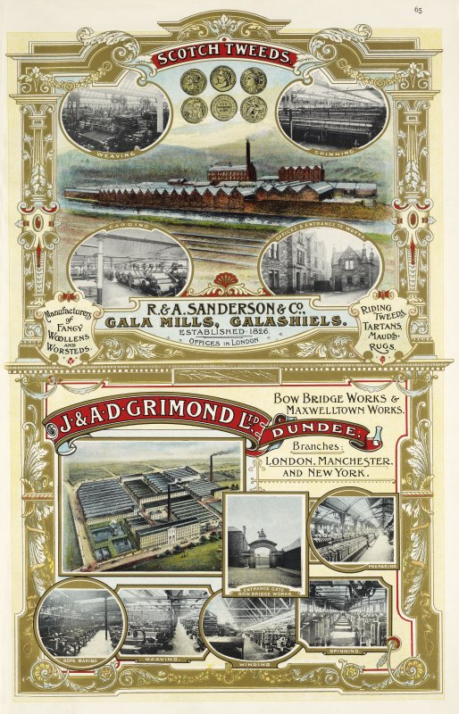 Advertisement for R & A. Sanderson & Co.  Gala Mills, Galashiels and J & A. D. Grimond Ltd, Bow Bridge Works and Maxwellton Works, Dundee.