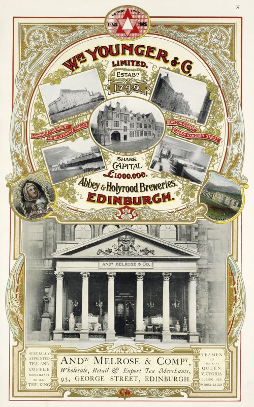 Advertisement for William Younger & Co Abbey and Holyrood Breweries, Edinburgh, and Andrew Melrose & Co tea merchant, Edinburgh.