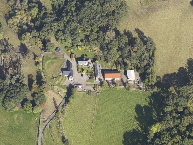 Oblique aerial view of Colliechat Castle, taken from the S.