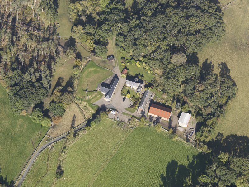 Oblique aerial view of Colliechat Castle, taken from the SSE.