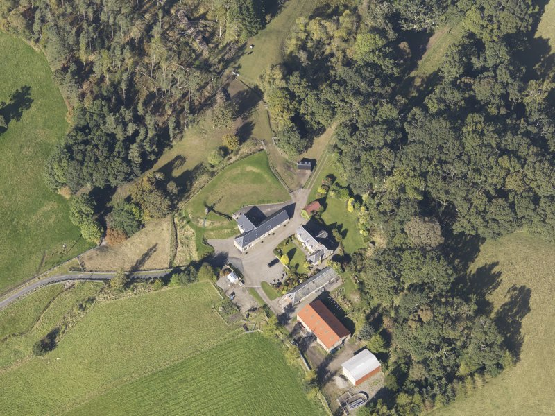 Oblique aerial view of Colliechat Castle, taken from the SE.